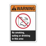 Warning No Smoking, Eating or Drinking Beyond This Point  Sign
