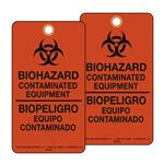 BioHazard Contaminated Equipment/BioPeligro Equipo Contaminado Bilingual BioHazard Tags 3-1/8 x 5-5/8