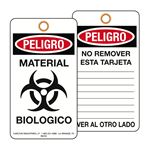 Peligro Material Biologico Bilingual BioHazard Warning Tags 3-1/8 x 5-5/8