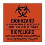 BioHazard No Food Or Drink/BioPeligro No SeDeben Guardar Bilingual BioHazard Labels 6 x 6