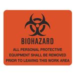 Dual Purpose Vinyl Signs Biohazard All Personal Protective Equipment Shall Be Removed 10-1/2x 8-1/2