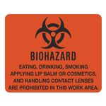 Dual Purpose Vinyl Signs Biohazard Eating, Drinking, Smoking...Are Prohibited 10-1/2 x 8-1/2