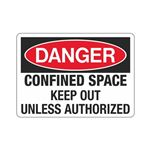 Confined Space Keep Out Unless Authorized Sign