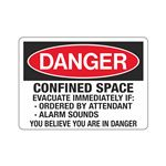 Danger Confined Space Evacuate Immediately If Sign