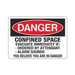 Confined Space Evacuate Immediately If: Sign