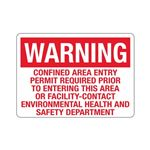 Confined Area Entry Perm … s Area or Facility Sign