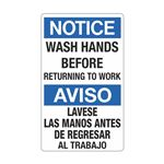 Notice Wash Hands Before … Las Manos Antes... Sign
