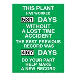This Plant Has Worked (blank) Days Without A Lost Time Accident - 23 in. x 34 in.