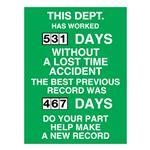This Dept Has Worked (blank) Days Without A Lost Time Accident - 23 in. x 34 in.