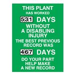 This Plant Has Worked (blank) Days Without A Disabling Injury - 23 in. x 34 in.