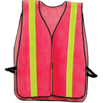 Economy Safety Vest - Orange with Yellow Stripe