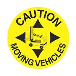 Anti-Slip Floor Decals - Caution Moving Vehicles 18 inch diameter