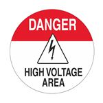 Anti-Slip Floor Decals - Danger High Voltage Area 18 inch diameter