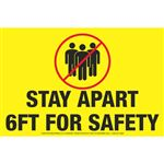 "Stay Apart 6ft for Safety - Floor Decals 8"" x 12"""