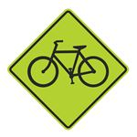Bike Crossing Graphic Diamond Sign 24 x 24