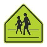 Pedestrian Crossing Graphic Pentagon Sign 30 x 30