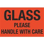 Fluorescent Shipping Labels - Glass Please Handle With Care 4 x 6
