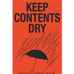 Fluorescent Shipping Labels - Keep Contents Dry w/Graphic 4 x 6