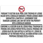 30.06 No Concealed Carry - White Opaque Decal 18 in. x 24 in.