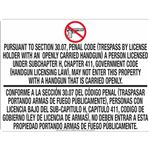 30.07 No Open Carry - White Opaque Decal 18 in. x 24 in.