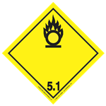 GHS Class 5 Oxidizing Material Label Transport Pictogram 2 Inch