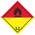 GHS Class 5 Organic Peroxide Red/Yellow Label Transport Pictogram 2 Inch