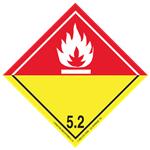 GHS Class 5 Organic Peroxide Red/Yellow (White Flame) Label Transport Pictogram 2 Inch