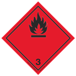 Class 3 (Black Flame) Transport Pictogram 2 In. Label RL/500