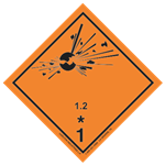 GHS Class 1 Explosive 1.2 Label Transport Pictogram 2 Inch