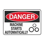 Danger Machine Starts Automatically Decal