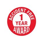 Accident Free 1 Year Award Hard Hat Decal