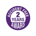 Accident Free 2 Years Award Hard Hat Decal