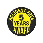 Accident Free 5 Years Award Hard Hat Decal