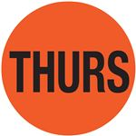 Printed Stock Hot Labels - Thurs - Orange 1.5 x 1.5