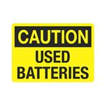 Caution Used Batteries (Hazmat) Sign