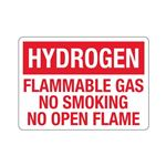 Hydrogen Flammable Gas N … king No Open Flame Sign