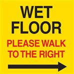 Safety Cone Warning Decal-Wet Floor-Please Walk To Right-8x8