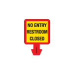 Safety Cone Warning Decal - No Entry - Restroom Closed 8 x 8