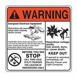 Electrical Decals - Warning - Room to Work - Mr Ouch - Stop Before You Dig 6 x 6