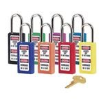 "Lt Wt Safety Lockout Locks Keyed Alike 1 1/2"" Shackle"