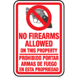 No Firearms Allowed On This Property (Bilingual) - 12 x 18