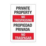 Private Property/No Trespassing (Bilingual) Sign