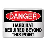 Danger Hard Hat Required Beyond This Point Sign-Refl.-10x14
