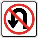 No U Turn (Graphic) - Engineer Grade Reflective 24 x 24