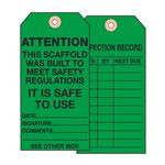 Scaffold Tags - Attention This Scaffold/Date/Signature/Comments - Cardstock 2 7/8 x 5 3/4