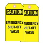 Valve Tags - Caution Emergency Shut-Off Valve - Cardstock 5-3/4 inches x 2-7/8 inches