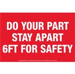 """Anti-Slip Floor Decal -Do Your Part Stay Apart 8""""x12"""""""