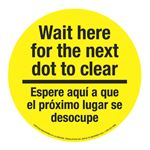 "Anti-Slip Floor Decals-Wait Here For Next Dot/Bilingual-11"""