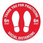 """Anti-Slip Floor Decals-TY Social Distancing-11"""" dia"""