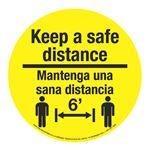 "Anti-Slip Floor Decals-Keep a Safe Distance/Bilingual-11""dia"